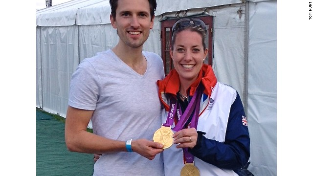 Tom Hunt, seen here with Dujardin and her Olympic medals, used video analysis to precisely match the tempo and rhythm of Dujardin's horse with his composition.