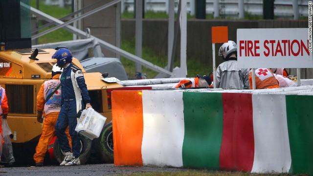 The crash occured in the later stages of the race at Suzuka as Bianchi ploughed into a recovery truck.