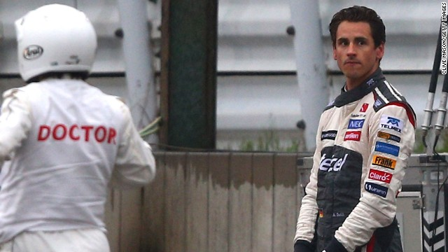A visibly distressed Adrian Sutil witnessed the crash involving Bianchi as his own car was being cleared off the circuit.