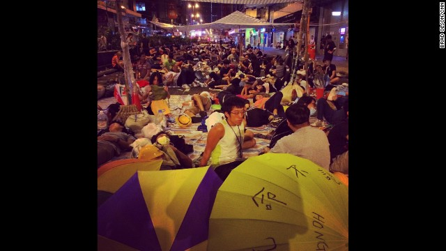 "HONG KONG: ""Mongkok at 5 a.m. Most people are sleeping. There are police here but only to keep the peace. No sign of any kind of crackdown."" - CNN's Brad Olson, October 6. Follow Brad (@cnnbrad) and other CNNers along on Instagram at instagram.com/cnn."