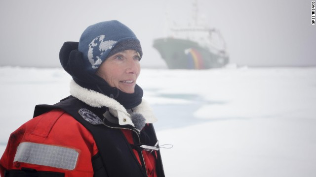 Actress Emma Thompson joined Greenpeace crew aboard the activist ship Esperanza.