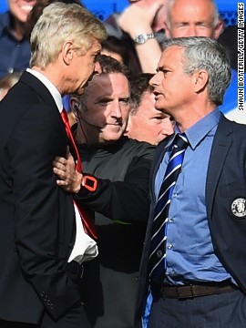 "Chelsea won the match 2-0 meaning Wenger is yet to beat Moruinho in 12 meetings to date. Last season the Portuguese called his French counterpart ""a specialist in failure."" Neither manager showed any remorse for Sunday's touchline fracas. ""What is there to regret?"" Wenger said afterwards."