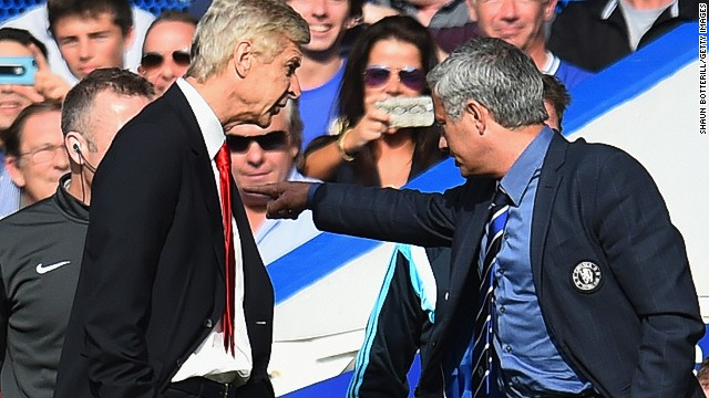The feud between Chelsea manager Jose Mourinho and his Arsenal counterpart Arsene Wenger stretches back to 2005 and reared its head again when the two met on Sunday. Wenger shoved Mourinho on the touchline, and the two had to be separated by the fourth official.