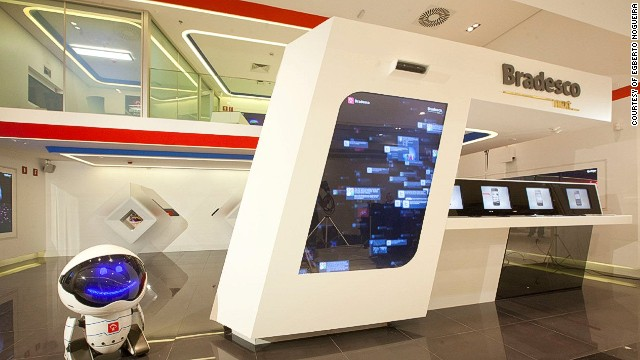 Bradesco Next, designed by YDreams, is located in Sao Paulo, Brazil. This innovative branch features multi-app walls and even houses a little robot, Link 237, who greets visitors.