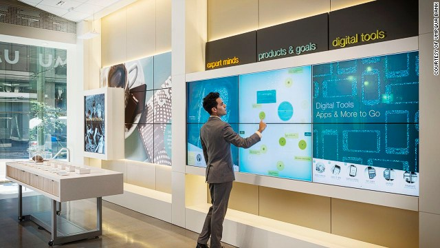 "Umpqua bank has a flagship store in San Francisco that features a ""Catalyst Wall"" -- an interactive digital wall, where users can find out new trends and insights in the world of business."