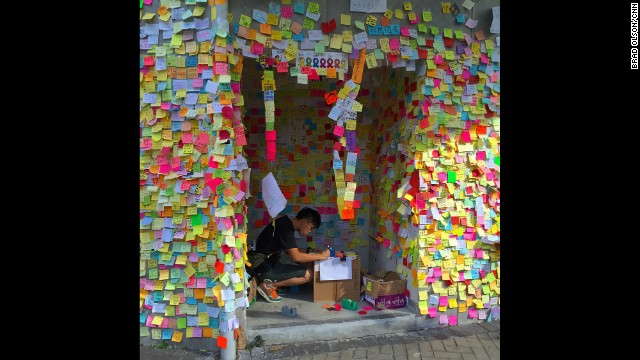 "HONG KONG: ""Many thousands of people who have come here to demonstrate have written messages on sticky notes and posted them on the walls of city hall."" - CNN's Brad Olson, October 6. Follow Brad (@cnnbrad) and other CNNers along on Instagram at instagram.com/cnn."
