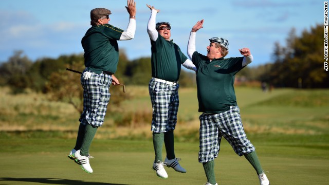 Here golfers mix 1930s period costume with new millennium attitude during the eighth World Hickory Open, held at Monifeith Links in Scotland in 2012.