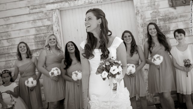 Maynard shares a moment with her bridesmaids on her wedding day.