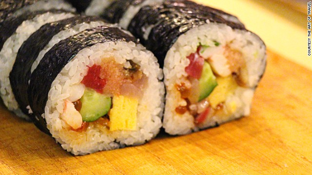 Sushi chef Masaki Teranishi likes to get novice sushi-makers started with maki-rolls (pictured).