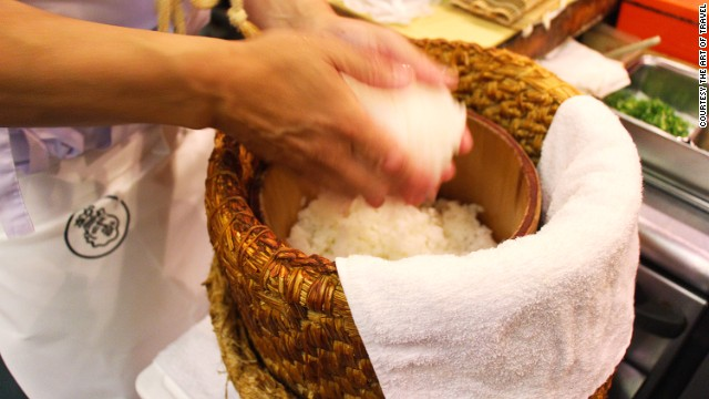 Once the rice is cooked, it should be quickly cooled using a fan while the seasoning -- vinegar, salt, sugar, Japanese rice wine -- is slowly mixed into the rice.