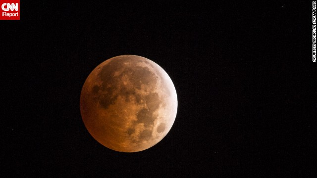 "It was the first time <a href='http://ireport.cnn.com/docs/DOC-1177339'>Nicholas Scott Page</a> from Dayton, Washington, saw the blood moon.""I stayed up in April to try and catch the last eclipse but cloud cover spoiled my plans to photograph it,"" he said."