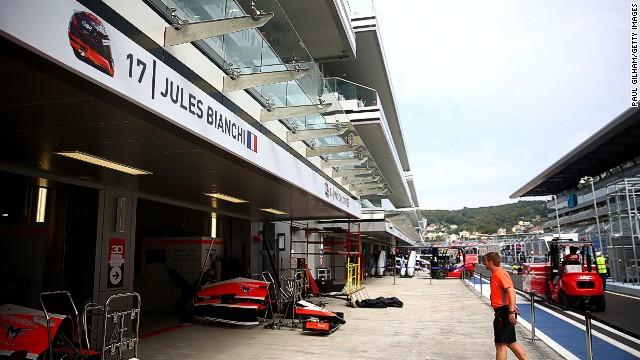 The F1 community has arrived in Sochi for the inaugural Russian Grand Prix, where Jules Bianchi's name is displayed above his Marussia garage.