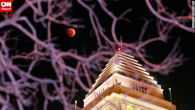 "There's a nice juxtaposition between the blood moon and a building in Los Angeles that made Animesh Ray wonder, ""Which is better?"" ""Perhaps it is not our place to compare but only to contemplate their mutual synergy, one enhancing the other,"" he said."