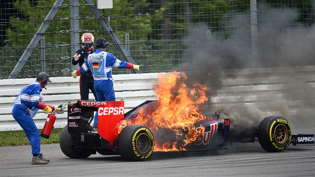 Not everything has gone to plan during Kvyat's debut season. He had to leap out of his car when it caught fire in the closing stages of the German Grand Prix.