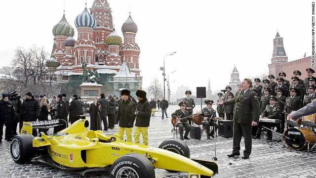 Even without a Russian Grand Prix, F1 teams have paid plenty of visits to the nation. Here in 2005, the Jordan team presented their car in chilly conditions in front of the Kremlin in Moscow's Red Square.