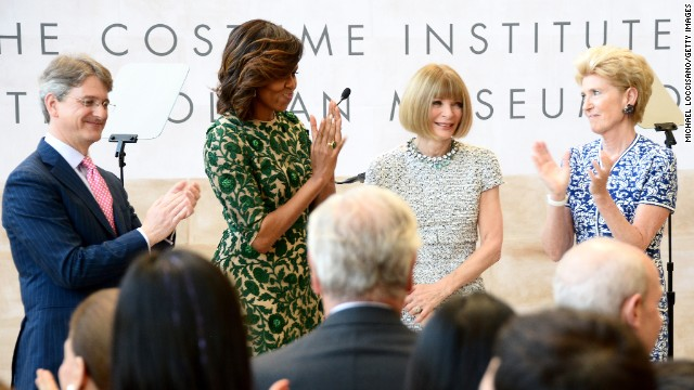 Vogue editor Anna Wintour hosted Obama at a fundraiser in June for the DNC. It was one of several events she's held with the president over the years. She was considered one of Obama's top bundlers in the 2012 election. After he won reelection she was rumored to be in line for an ambassadorship.