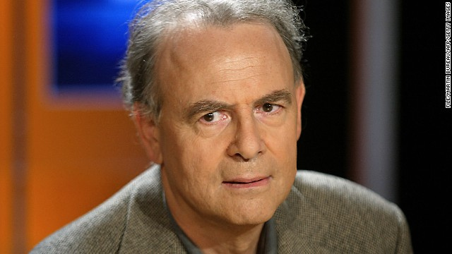 French writer Patrick Modiano, who won this year's Nobel Prize in literature, is pictured in Paris on October 7, 2003.