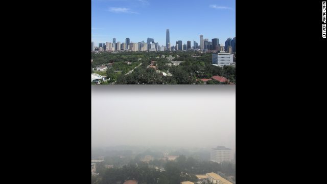 "BEIJING: ""Unfiltered view from office balcony: Autumn 2011 vs today."" - CNN's Steven Jiang, October 9. Beijing raised its air pollution alert to orange, the second-highest level. Heavy smog routinely blankets the capital, all but blotting out the sun and forcing residents inside. Follow Steven (@stevencnn) and other CNNers along on Instagram at instagram.com/cnn."