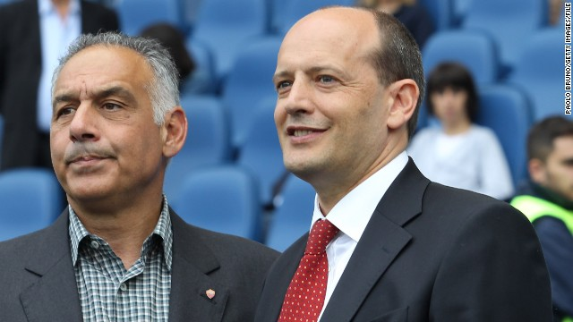 Roma president James Pallotta, pictured left with the team's general manager Mauro Baldissoni, wants the country's clubs to consider holding a round of the Serie A top division in foreign countries.