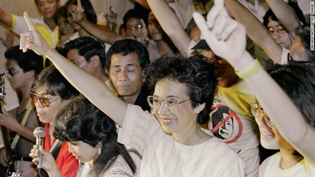 "Corazon Aquino was the first woman to lead the Philippines, serving as President from 1986-1992. A former housewife, she was propelled to the head of a ""People Power"" movement that pushed out longtime strongman Ferdinand Marcos after her husband's assassination."