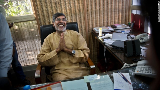 Satyarthi addresses the media at his office in New Delhi, India, after he and Yousafzai were announced as the Nobel Peace Prize winners on Friday, October 10.