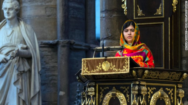 Malala speaks during the Commonwealth Day observance service Monday, March 10, at Westminster Abbey in London. Malala has lived in Britain since the Taliban attack.