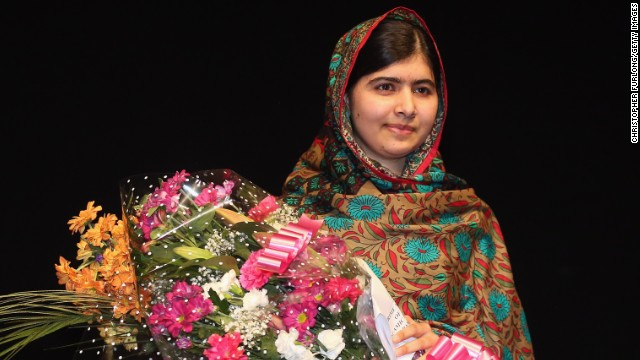 Malala Yousafzai poses on stage in Birmingham, England, after she was announced as a recipient of the Nobel Peace Prize on Friday, October 10. Two years ago, the 17-year-old was shot in the head by the Taliban for her efforts to promote education for girls in Pakistan. Since then, after recovering from surgery, she has taken her campaign to the world stage.