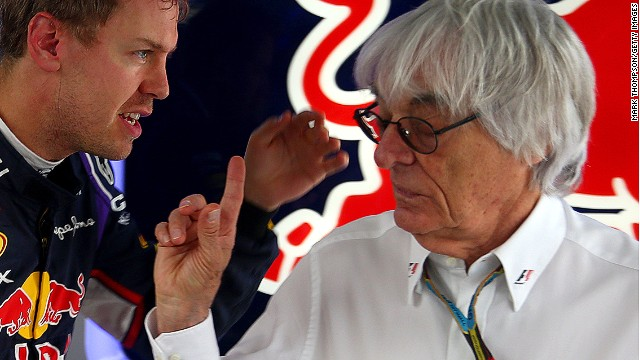 Four-time world champion Sebastian Vettel speaks with F1 supremo Bernie Ecclestone during practice. The German is leaving Red Bull at the end of this season and is expected to join Ferrari.