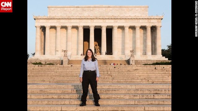 Highsmith kept steadily following her new healthy lifestyle as she traveled the country (here, at the Lincoln Memorial in Washington) on a work project, holding on to her desire to wow her classmates as motivation.