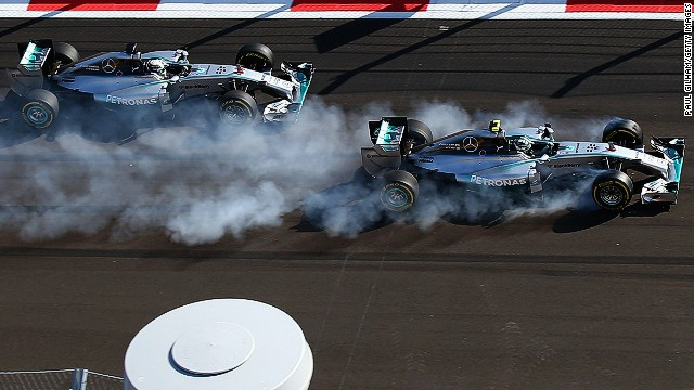 Nico Rosberg ruins his tires when he locks up trying to pass Mercedes teammate Lewis Hamilton for the lead at the second corner of the grand prix. The mistake ends Rosberg's victory hopes.