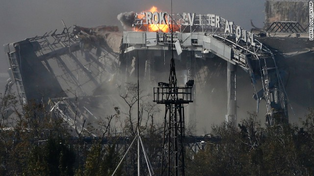 The main terminal of the Donetsk airport is hit by shelling on Wednesday, October 8.