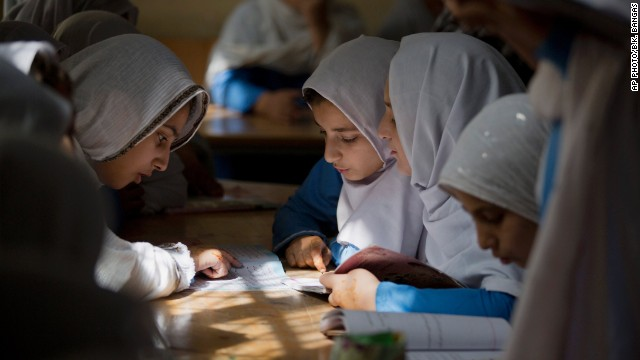 OCTOBER 13 - SWAT, PAKISTAN: Pupils study at a school in the conservative hometown of Taliban attack survivor Malala Yousafzai. <a href='http://edition.cnn.com/2014/10/10/world/europe/nobel-peace-prize/index.html?hpt=hp_t4'>Malala and Kailash Satyarthi of India </a>have jointly been awarded the Nobel Peace Prize, for risking their lives to fight for children's rights.