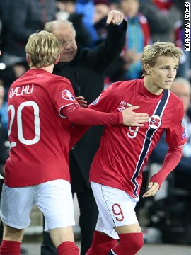 Martin Odegaard grabbed another slice of history on Monday, coming on as a substitute during Norway's clash with Bulgaria to become the youngest player ever in European Championships qualifying history at 15 years and 300 days.