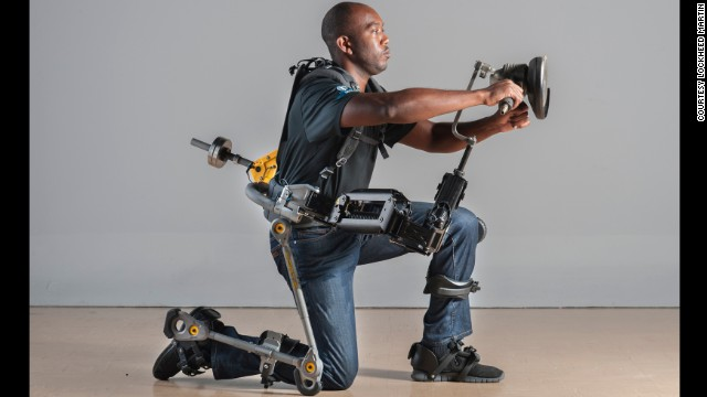 The FORTIS exoskeleton allows the wearer to lift weights up to 36 pounds effortlessly.
