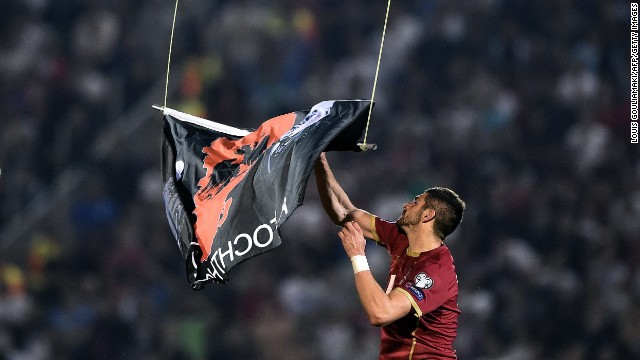 Albania's tie against Serbia in Belgrade had to be called off following a brawl between both sets of players. A drone flew over the stadium with a flag emblazoned with Albanian symbols, which was taken down by home player Stefan Mitrovic. A melee ensued with police taking to the field with the contest abandoned after 41 minutes.