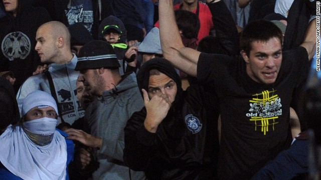 Police were brought in to deal with Serbian supporters as tensions continued to rise throughout the evening.