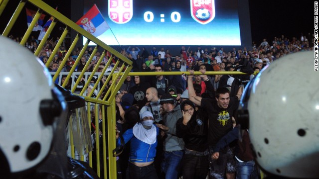 Riot police clashed with Serbian supporters as the situation escalated.