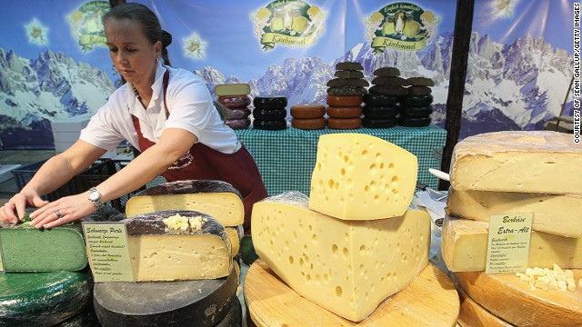 If you're after great cheese, Germany has it sorted. With over 400 varieties, Germany currently produces more cheese than any other country in Europe. An Emmentaler cheese stand is pictured at the Gruene Woche international agricultural trade fair at Messe Berlin.
