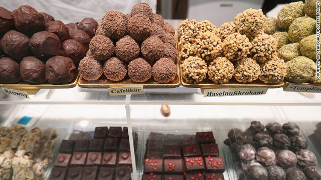 Who doesn't love chocolate? As the mastermind behind Kinder, Milka, Alpia and Ritter Sport, Germany is spoilt for choice. Chocolate truffles made from organic products, pictured, are displayed at the 2013 Gruene Woche agricultural trade fair in Berlin.