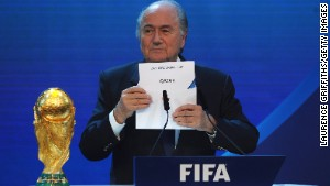 ZURICH, SWITZERLAND - DECEMBER 02: FIFA President Joseph S Blatter names Qatar as the winning hosts of 2022 during the FIFA World Cup 2018 & 2022 Host Countries Announcement at the Messe Conference Centre on December 2, 2010 in Zurich, Switzerland. (Photo by Laurence Griffiths/Getty Images)