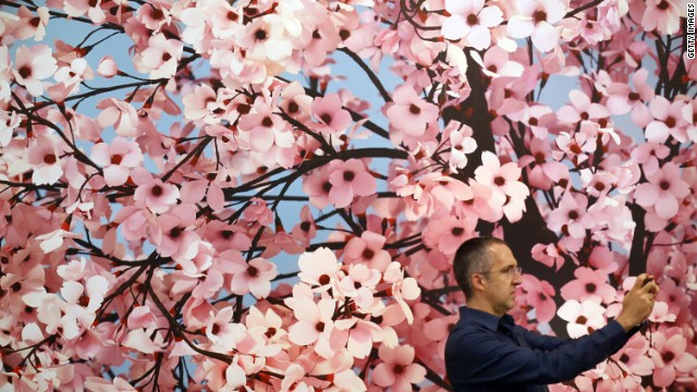 "Thomas Demand's Japanese-inspired ""Hanami"" was one of the most floral works on display, which made it the perfect backdrop for a selfie, apparently."