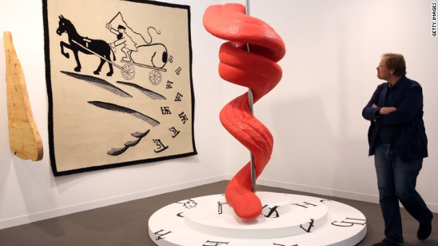 "The artists Slavs and Tatars exhibited ""Tongue Twist Her"", which resembles a giant tongue coiled around a spike."