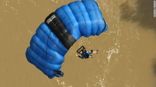 BASE jumpers carry parachutes, like this one, designed to deploy quickly.
