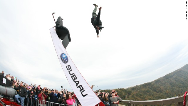 Bridge Day introduced a human catapult system in 2012 to launch a smaller, select group of jumpers up and out from the bridge railing. These jumpers used it in 2013.