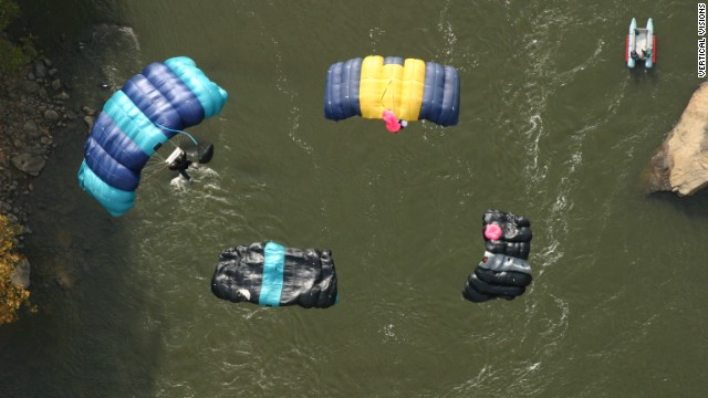 Bridge Day is the only day of the year that jumpers can legally jump off the bridge. Here, four jumpers coordinated their free fall.