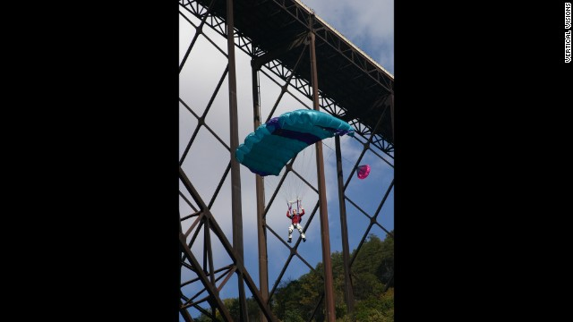 About 80,000 spectators attended the Bridge Day festival in 2013 to watch the jumpers leap off the bridge and sail to the earth below.