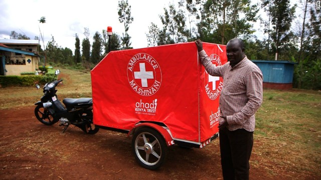 In his attempt to eradicate jiggers from his home country, Kamau realized how difficult it can be for many living in rural communities to seek medical attention. He developed the ambulance Mashinani -- or village ambulance -- that attaches to the back of a motorcycle.