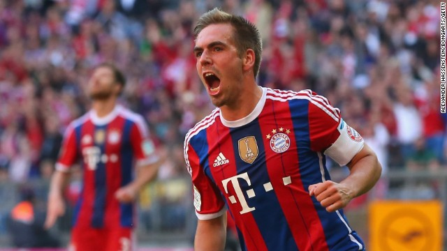 Philipp Lahm hit a rare double in Bayern Munich's 6-0 rout of bottom side Werder Bremen in the Bundesliga.