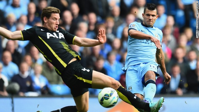 There was no stopping Sergio Aguero as he eludes Jan Vertonghen to slot home his fourth in Man City's 4-1 defeat of Spurs.