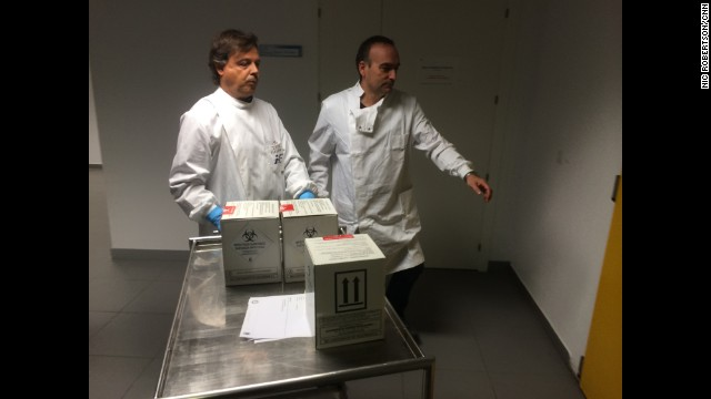 "MADRID: ""Ebola tests samples arrive at Spain's National Microbiology Institute, including a sample from Teresa Romero. Results could come anytime in the next 24 hours. Last tests show she had very, very low levels of the virus. She continues to improve."" - CNN's Nic Robertson, October 19. Follow Nic (@nicrobertsoncnn) and other CNNers along on Instagram at instagram.com/cnn."
